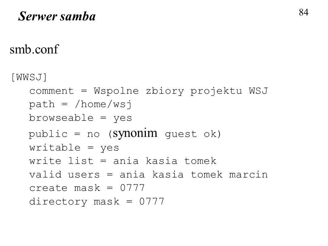 Serwer samba smb.conf [WWSJ] comment = Wspolne zbiory projektu WSJ